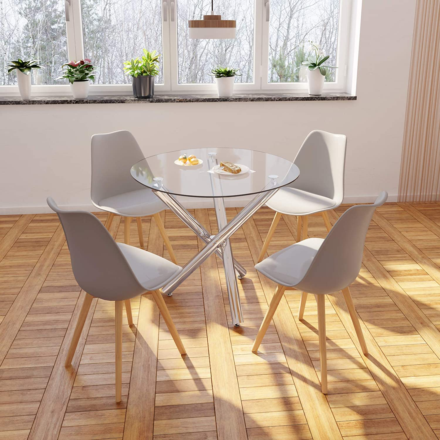 Joolihome Dining Table And 4 Chairs Kitchen Dining Room Sets Furniture For Home Office Glass Round