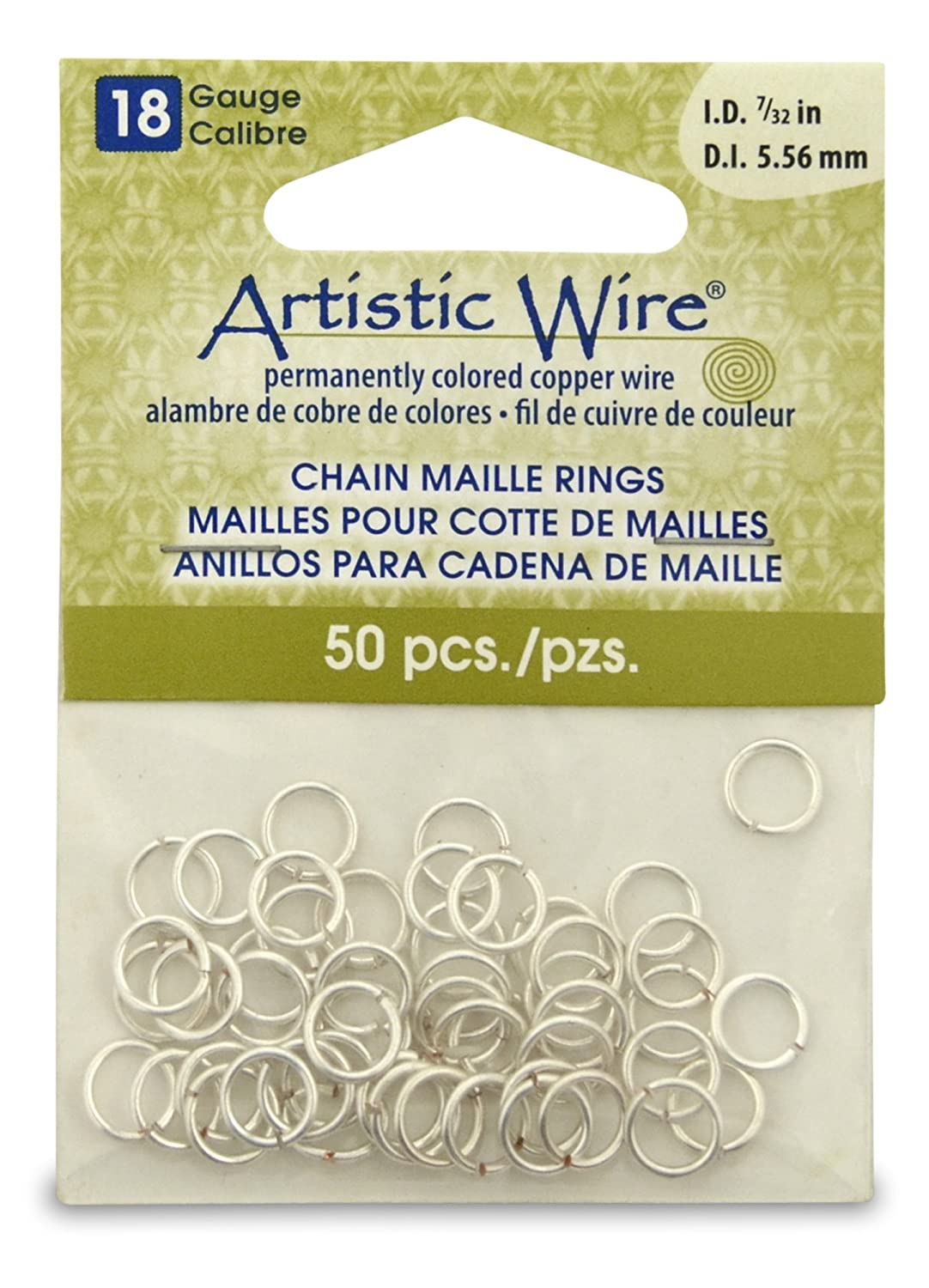 Artistic Wire Beadalon 7/32-inch 50 Piece 18-Gauge Non-Tarnish Chain Maille Rings, Silver A314-18S-10-09