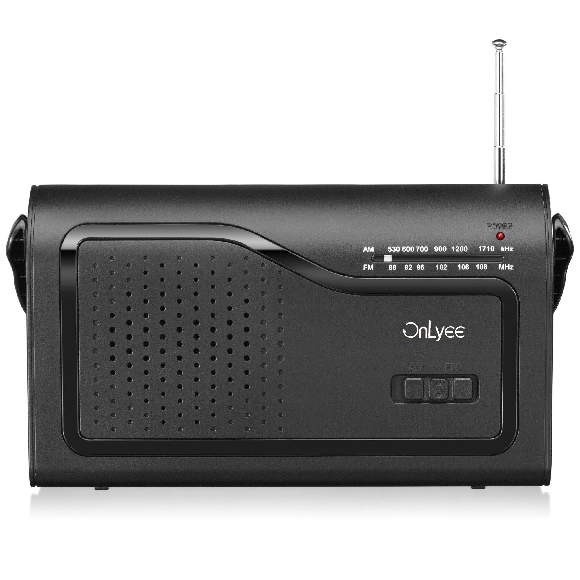 OnLyee AM FM Portable Radio (Black)
