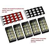 5 Pcs Dual Row 4 Position Screw Terminal Strip 600V 25A + 400V 25A 4 Postions Pre Insulated Terminal Barrier Strip Red /Black 10 Pcs