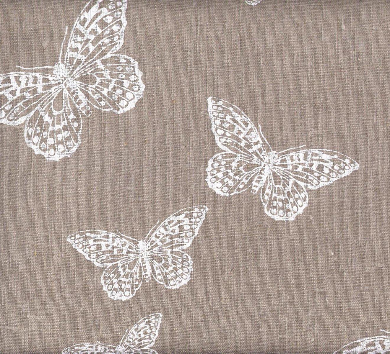 Tissu en lin imprimé - Les Papillons Chics (Naturel)   100% lin ...