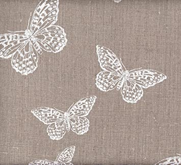 Tissu en lin imprimé - Les Papillons Chics (Naturel) | 100% lin ...