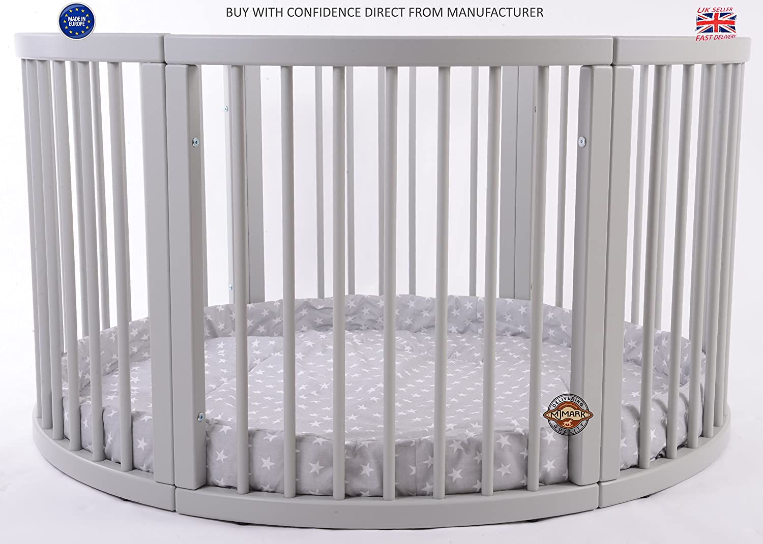 Brand NEW VERY LARGE Wooden Round PLAYPEN ATLAS QUATTRO with play-mat in Grey with white Stars by MJmark SALE SALE