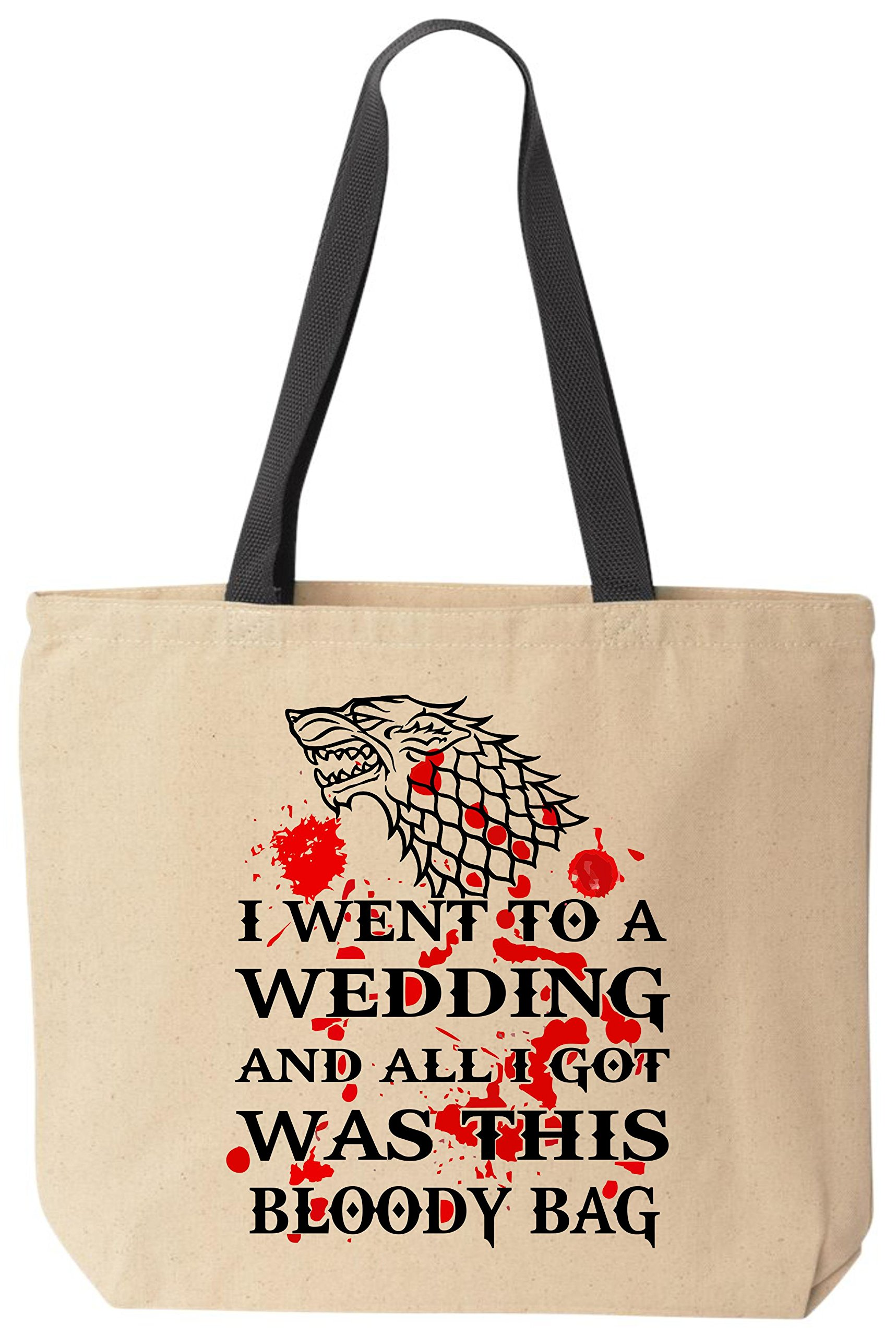 BeeGeeTees Game of Thrones Wedding Tote - Dire Wolf Bloody Canvas Bag