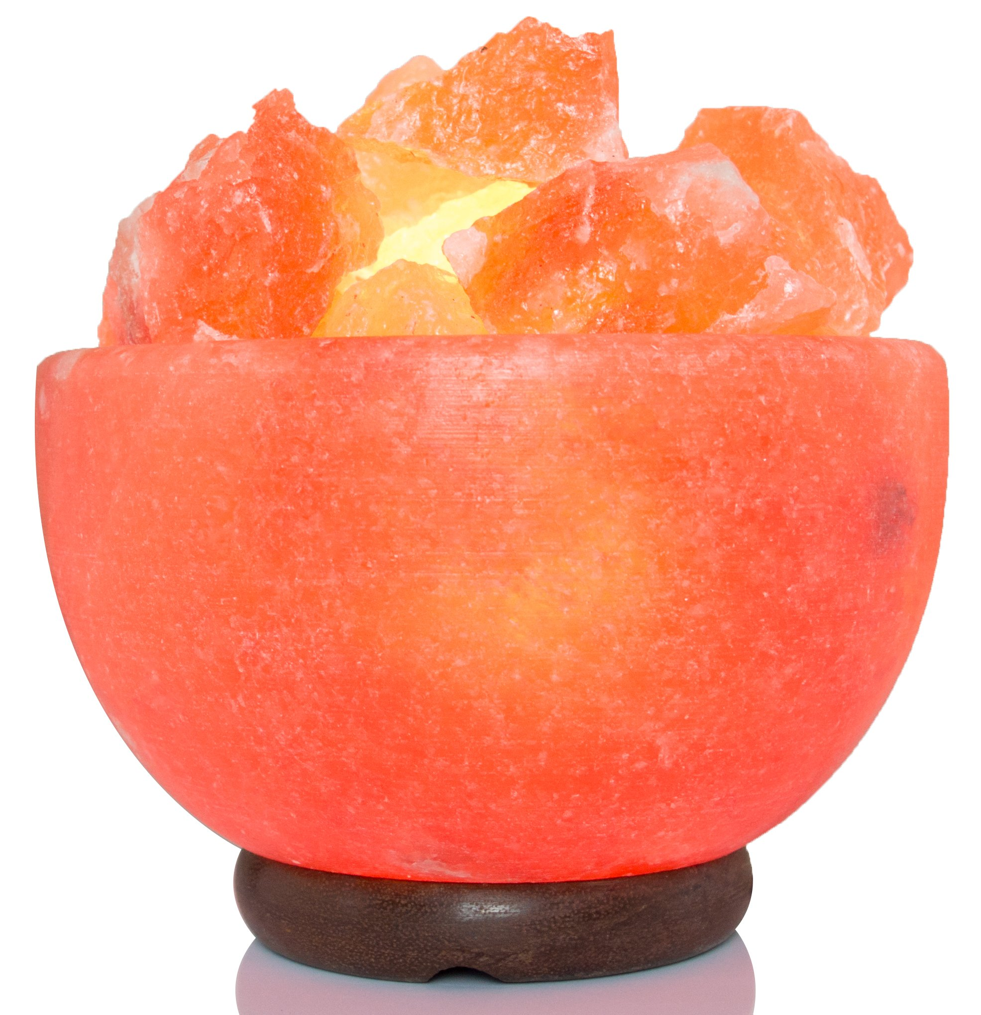 IKON NL-02 Himalayan Salt Lamp Bowl Shape with Salt Chips 6 feet UL-Approved Cord with Dimmer Switch, Orange