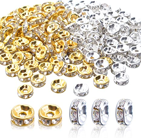 20Pcs Charms Crystal Loose Rondelle Spacer Beads Handcrafted Bracelet Chain