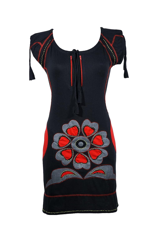Luftiges Kurzarm Kleid mit verspielten Floral Muster - Boho Chic - AMARA (rot)