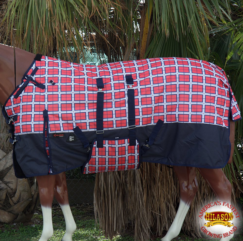75'' HILASON 1200D WINTER WATERPROOF HORSE BLANKET BELLY WRAP RED PLAID WITH BLACK