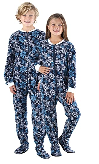 SleepytimePjs Kid s Sleepwear Fleece Onesie PJs Footed Pajama Navy Blue  Snowflakes – (ST717-I ff6fdc0c9