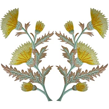 Pair of yellow thistle flower patches iron sew on embroidery patch pair of yellow thistle flower patches iron sew on embroidery patch badge flowers mightylinksfo
