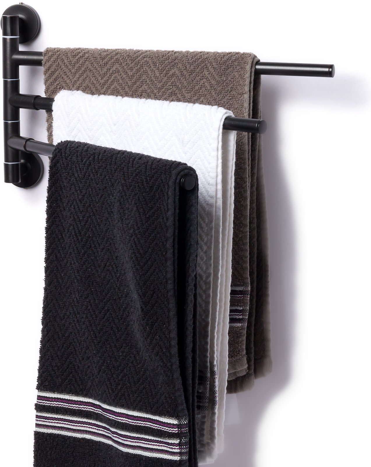 3 Prong Swing Arm Towel Bar - Wall Mounted Stainless Steel Bathroom Towel Rack by Mindful Design (Oil Rubbed Bronze, 13 inches) by Mindful Design