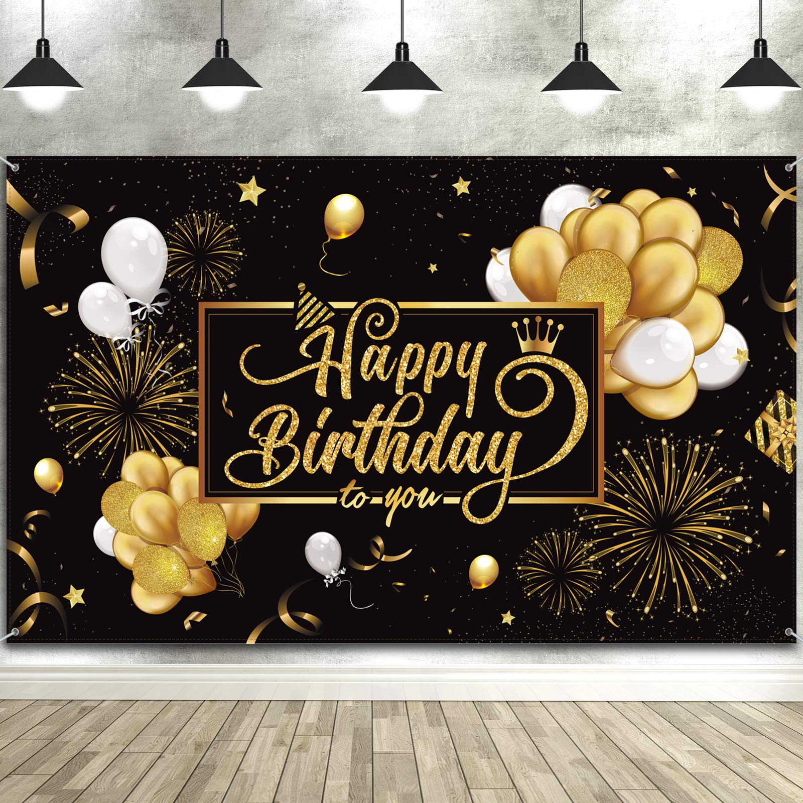 Happy Birthday Backdrop Banner Large Black Gold Balloon Star Fireworks Party Sign Poster Photo Booth Backdrop for Men Women 30th 40th 50th 60th 70th 80th Birthday Party Decorations, 72.8 x 43.3 Inch