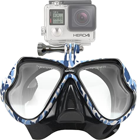 GoMax Dive Scuba Diving Mask Also for Snorkel//Snorkeling Twin Lens for Adults and Youth w//Tempered Glass with Free Soft Mesh case