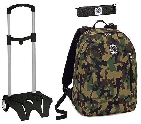 4cad96c6a1 Zaino Twist Invicta + Easy Trolley + Portapenne - Verde Camouflage - Scuola  & Tempo Libero