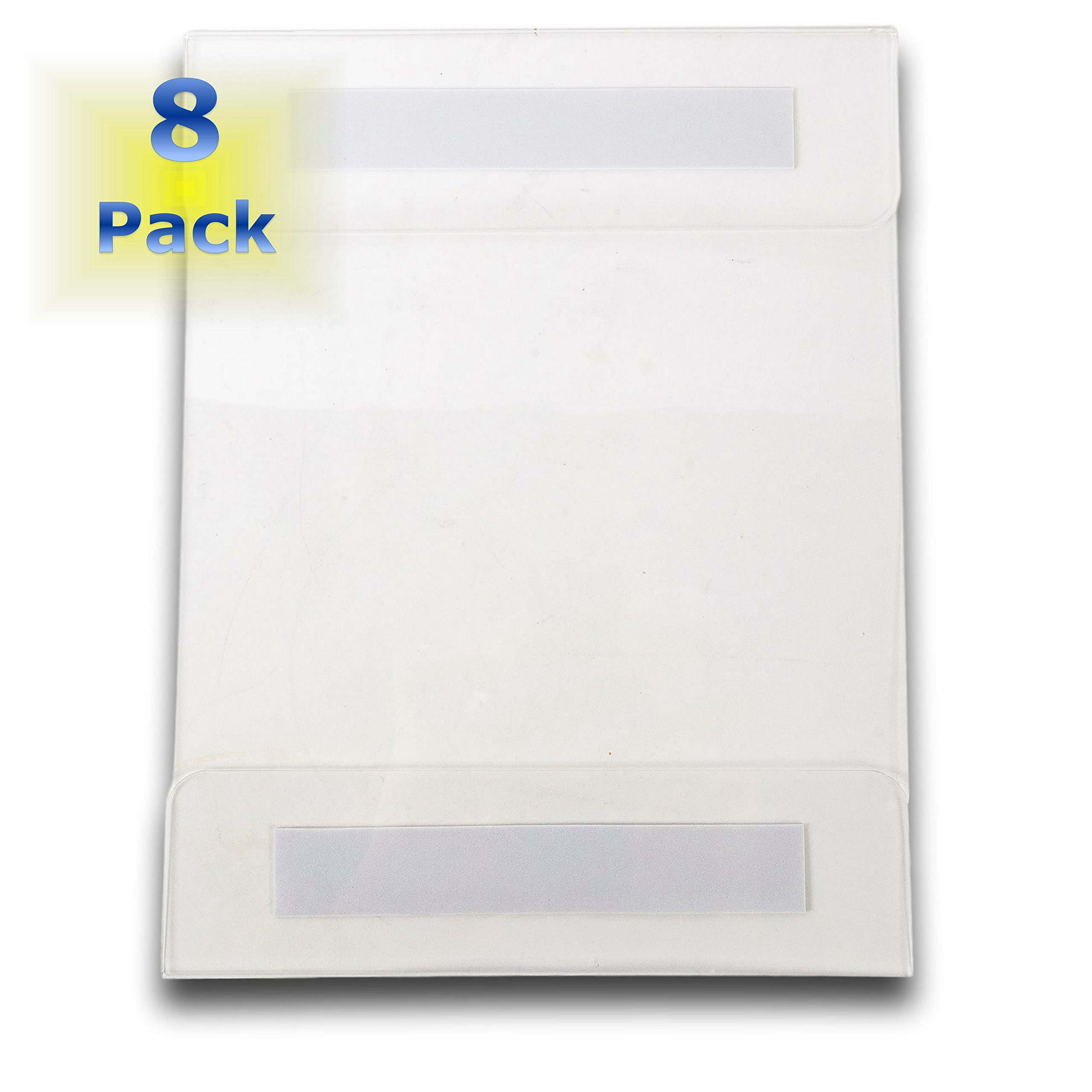 Universal Wall Mount Sign/Memo Holders By ClearView. [Set of 8] Crack & Scratch Resistant. Commercially Rated. Holds Standard 8.5'' X 11'' Paper. Use On Any Surface. 12 Month Manufacturers Warranty