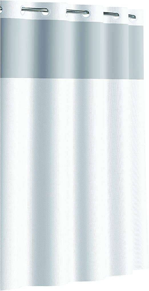 Amazon.com: Hookless RBH80MY047 Fabric Shower Curtain with Built