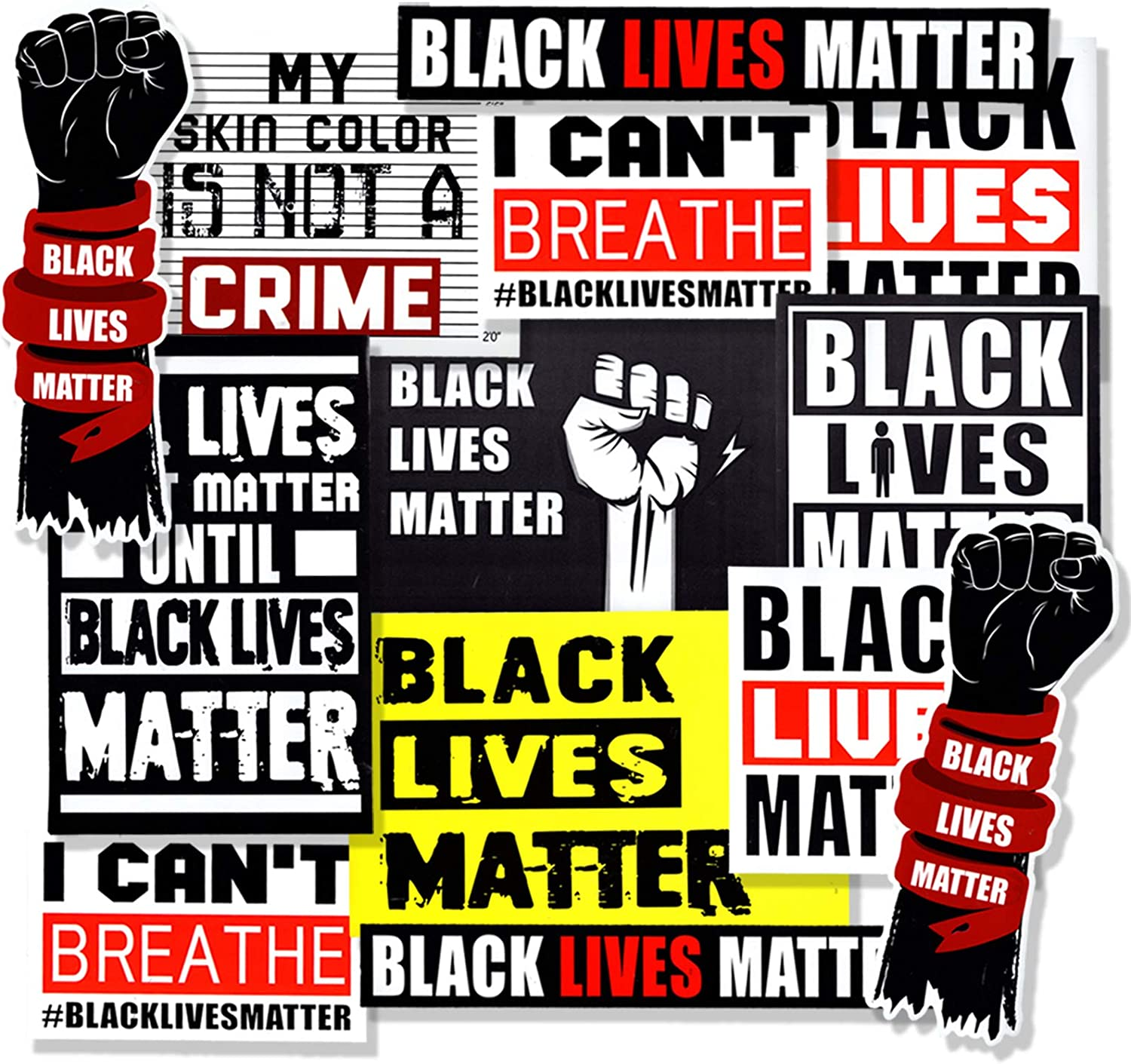 13-Pcs [ Black Lives Matter ] and [ No Justice No Peace ] Stickers for Car, Bumper, Water Bottle, Laptop, Luggage, Durable Waterproof Adults Sticker.