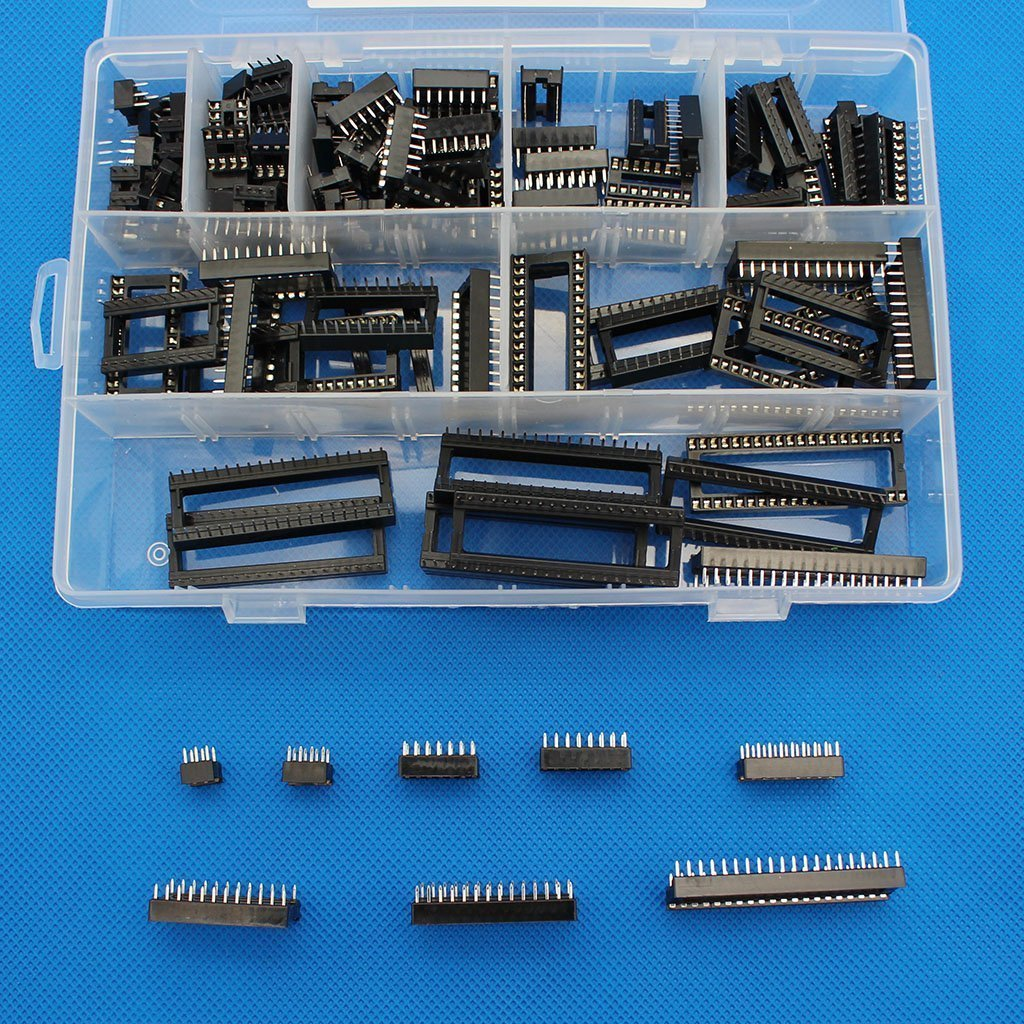 Raogoodcx 110 stü cke 2,54mm Pitch DIP IC Sockel Typ Adapter Set 6,8, 14, 16, 18, 24, 28, 40 Pin Raogoodcx® DIP-110