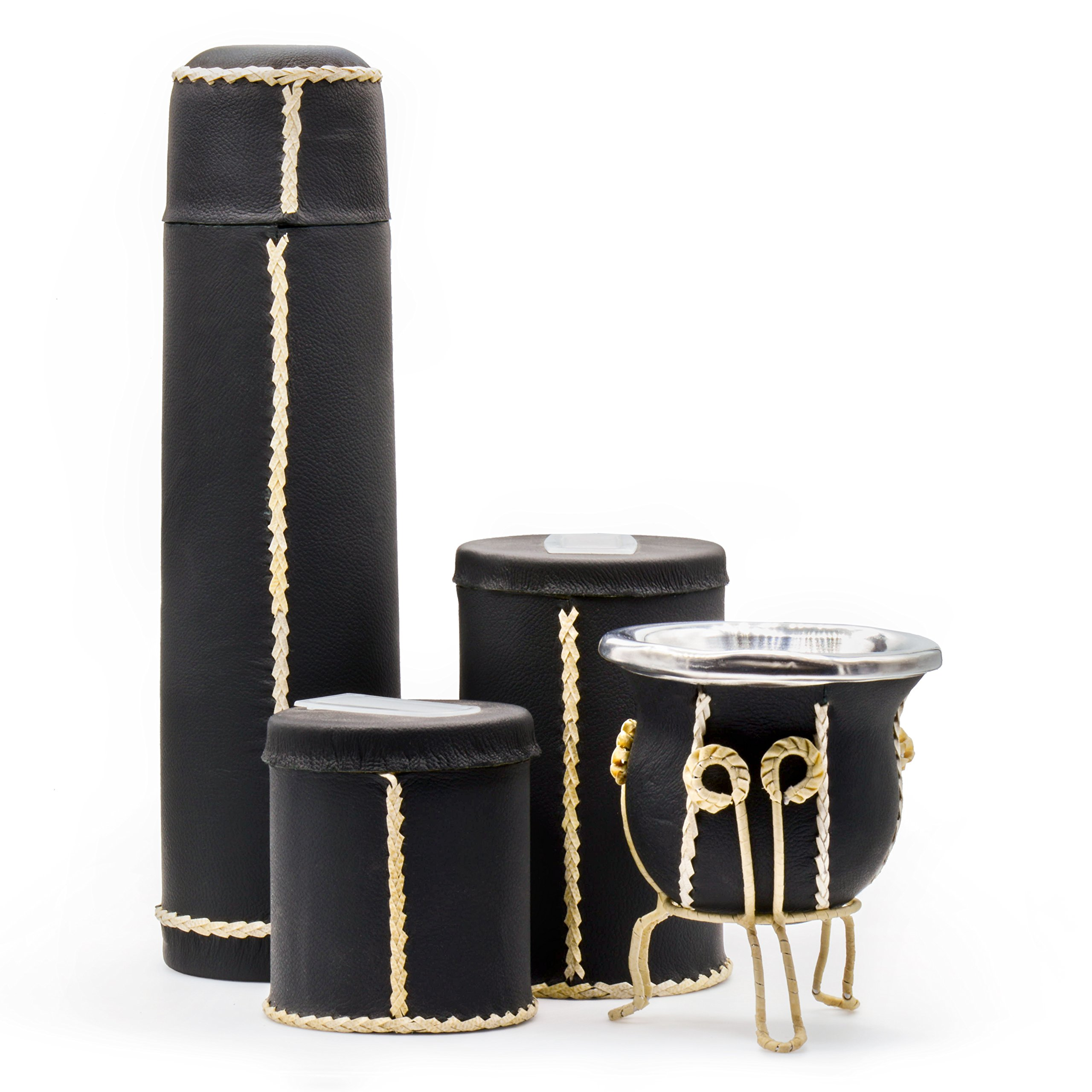 Leather Yerba Mate Kit and Accessories  mate bag, gourd, bombilla, thermos flask, herb container (Black)