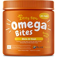 Zesty Paws Omega 3 Alaskan Fish Oil Chew Treats for Dogs - with AlaskOmega for EPA & DHA Fatty Acids - Itch Free Skin…