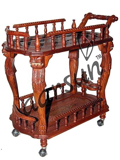 Aarsun Woods Handcrafted Wooden Serving / Service Kart / Kitchen Trolley in Sheesham