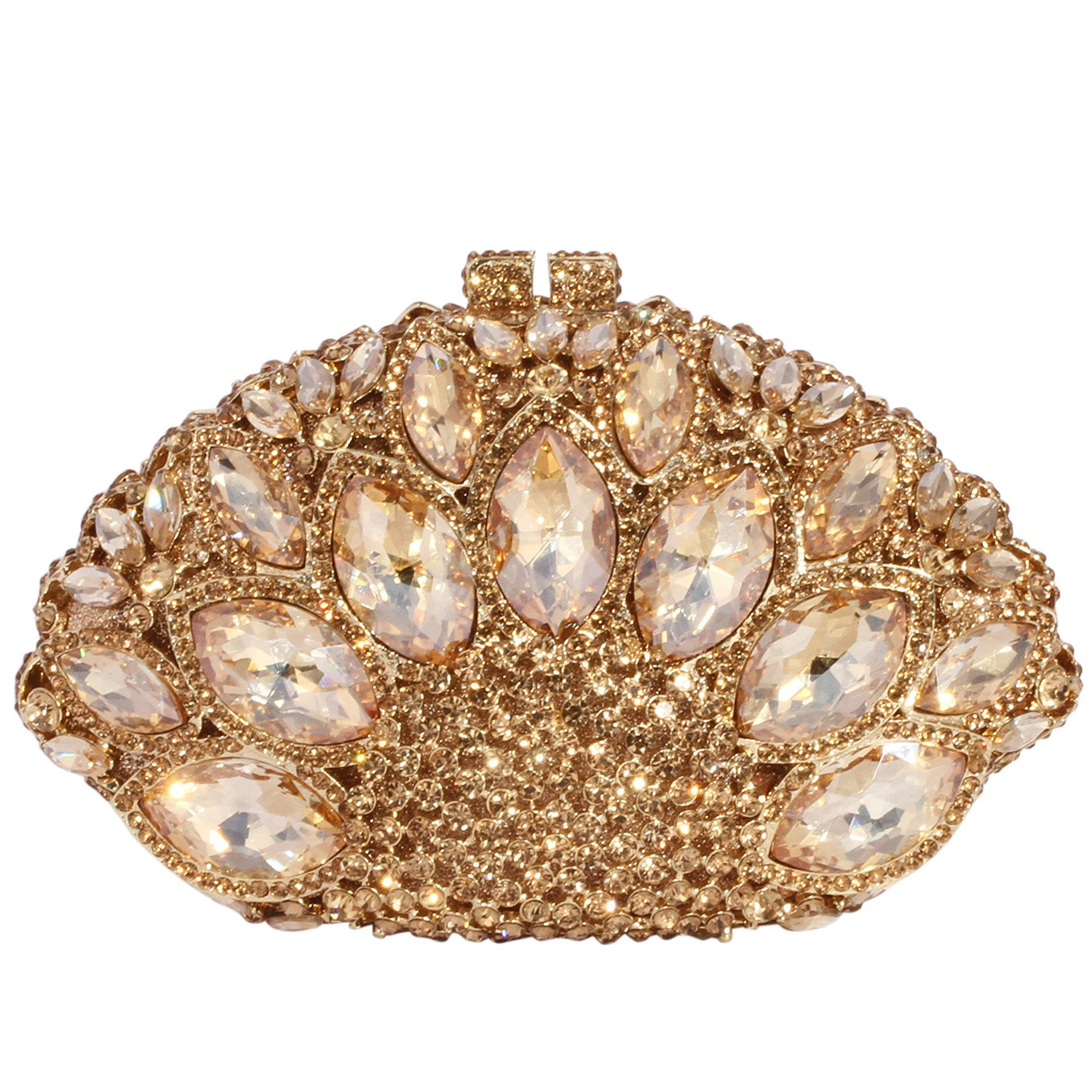 Digabi Fan-shaped Purses Peacock Tail Fashion women Crystal Evening Clutch Bags (One Size : 7.1 IN (L) x 4.72 IN (H) x 2.95 IN (W), Champagne Crystal - Gold Plated)