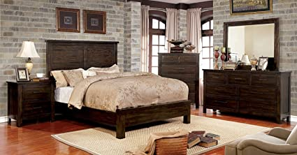 Amazon.com: New Transitional Dark Walnut Finish Panel Headboard ...