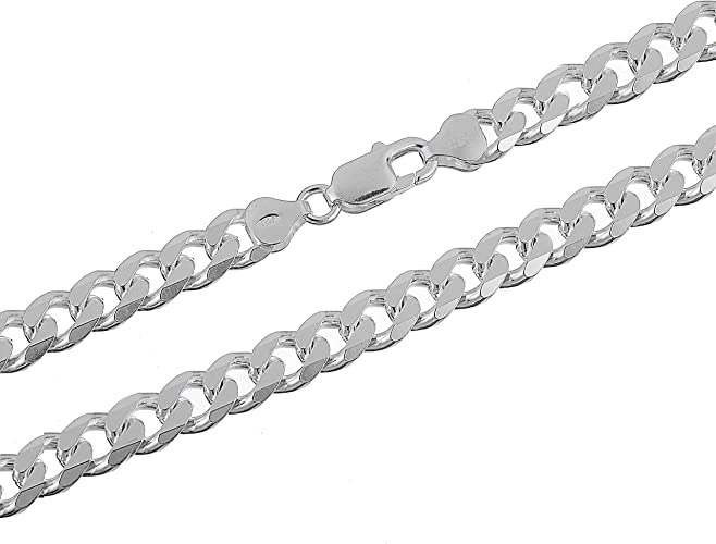 """Thick 7mm Silver Curb Chain Necklace  Womens Mens 18/"""""""