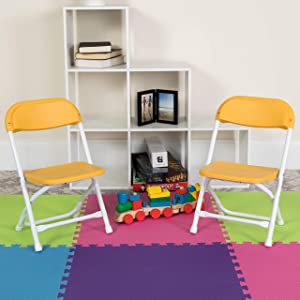 Flash Furniture Kids Yellow Plastic Folding Chair