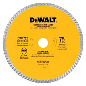DEWALT DW4704 Industrial 12-Inch Dry Cutting Continuous Rim Diamond Saw Blade with 1-Inch Arbor