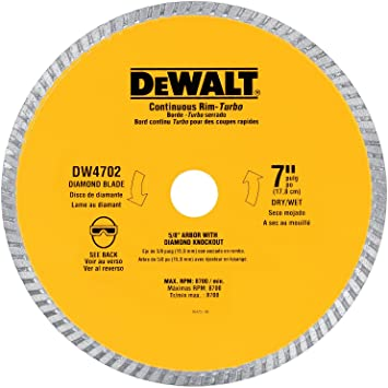 Dewalt Dw4704 Industrial 12 Inch Dry Cutting Continuous Rim Diamond Saw Blade With 1 Inch Arbor Circular Saw Blades Metal Cutting Amazon Com