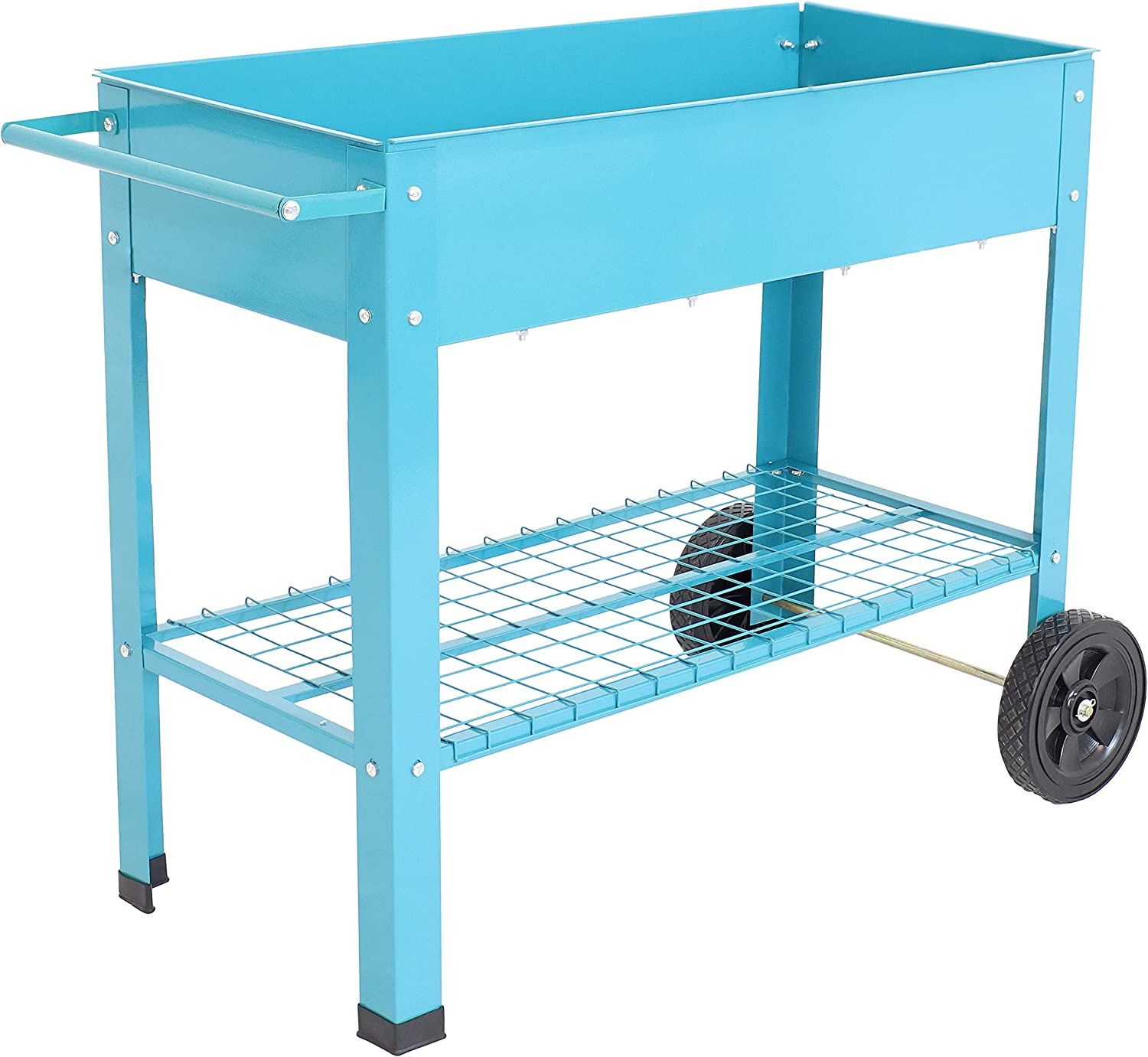 Sunnydaze Raised Garden Bed with Handlebar and Wheels - Galvanized Steel - Outdoor Mobile Elevated Planter Box Cart - 43-Inch - Grow Vegetables and Plants on The Patio, Deck, or Yard - Blue