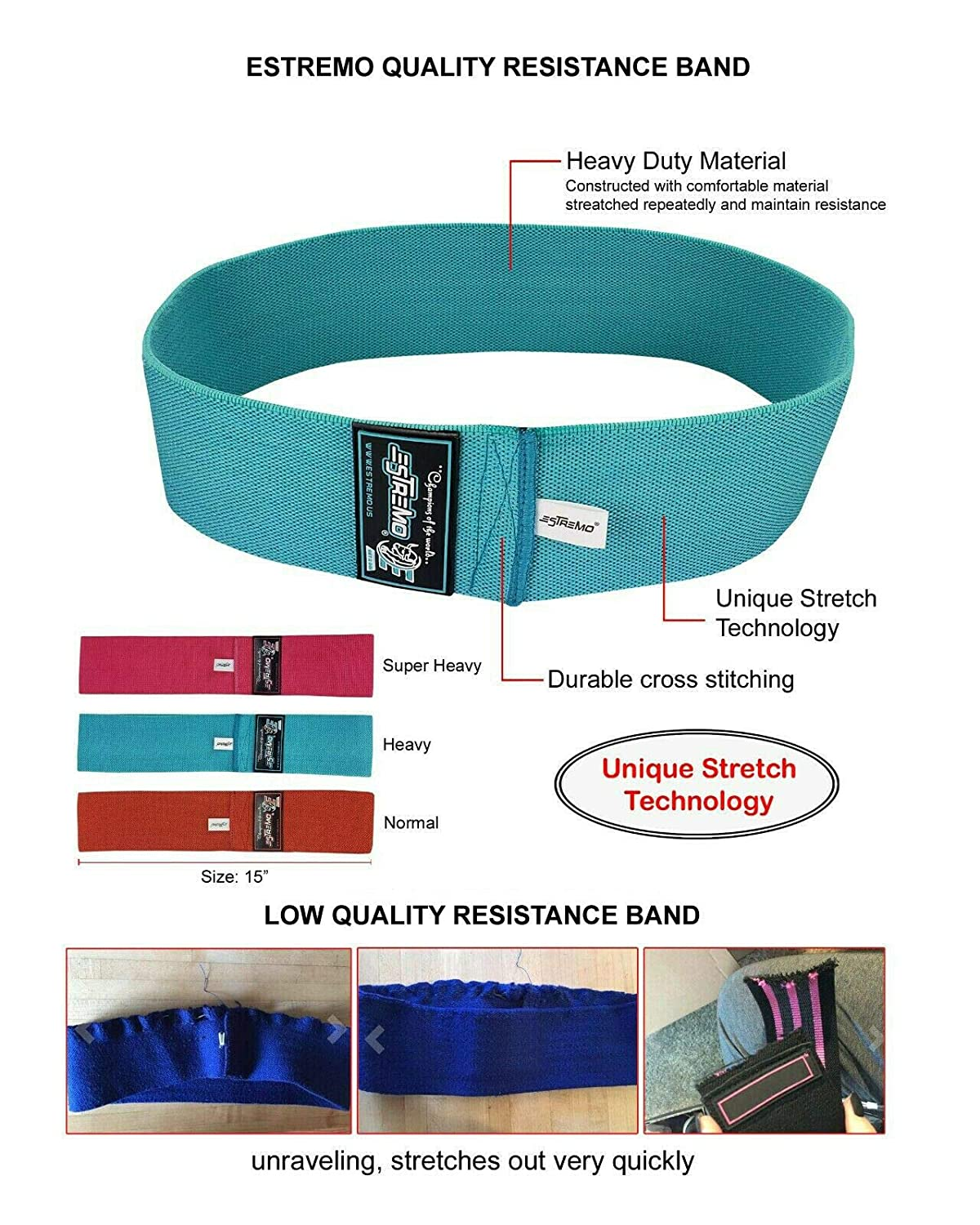 ESTREMO Resistance Bands Hip Exercise Circle Bands for Booty /& Glute Fitness Yoga Bands