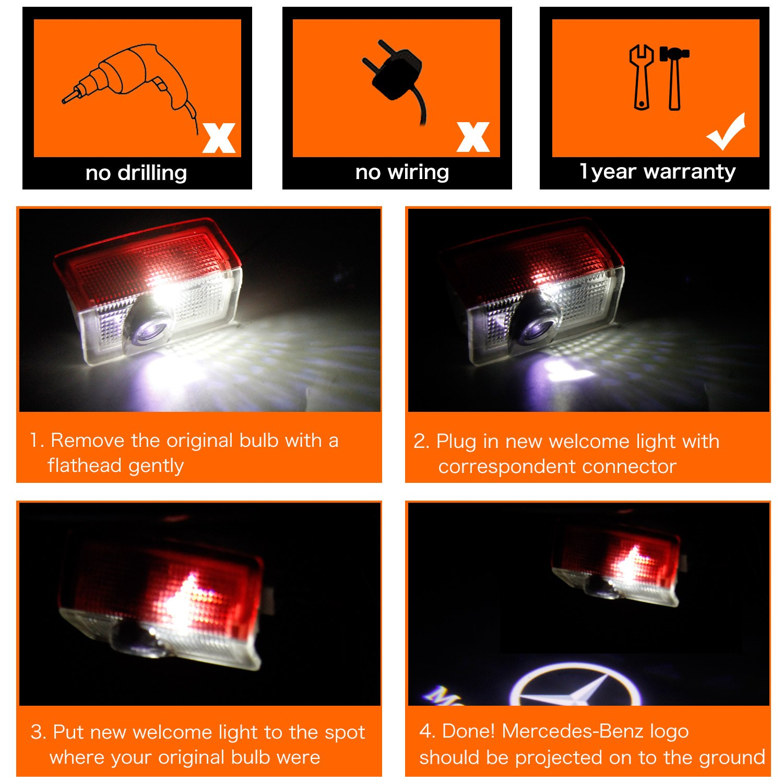 Logo LED t/ü r Auto, FlexDin t/ü rprojektoren autot/ü r Logo Projektion LED, t/ü rbeleuchtung und Einstiegsbeleuchtung mit Logo f/ü r Benz W205 C-Klasse W212 E-Klasse GLC usw - 2 St/ü ck
