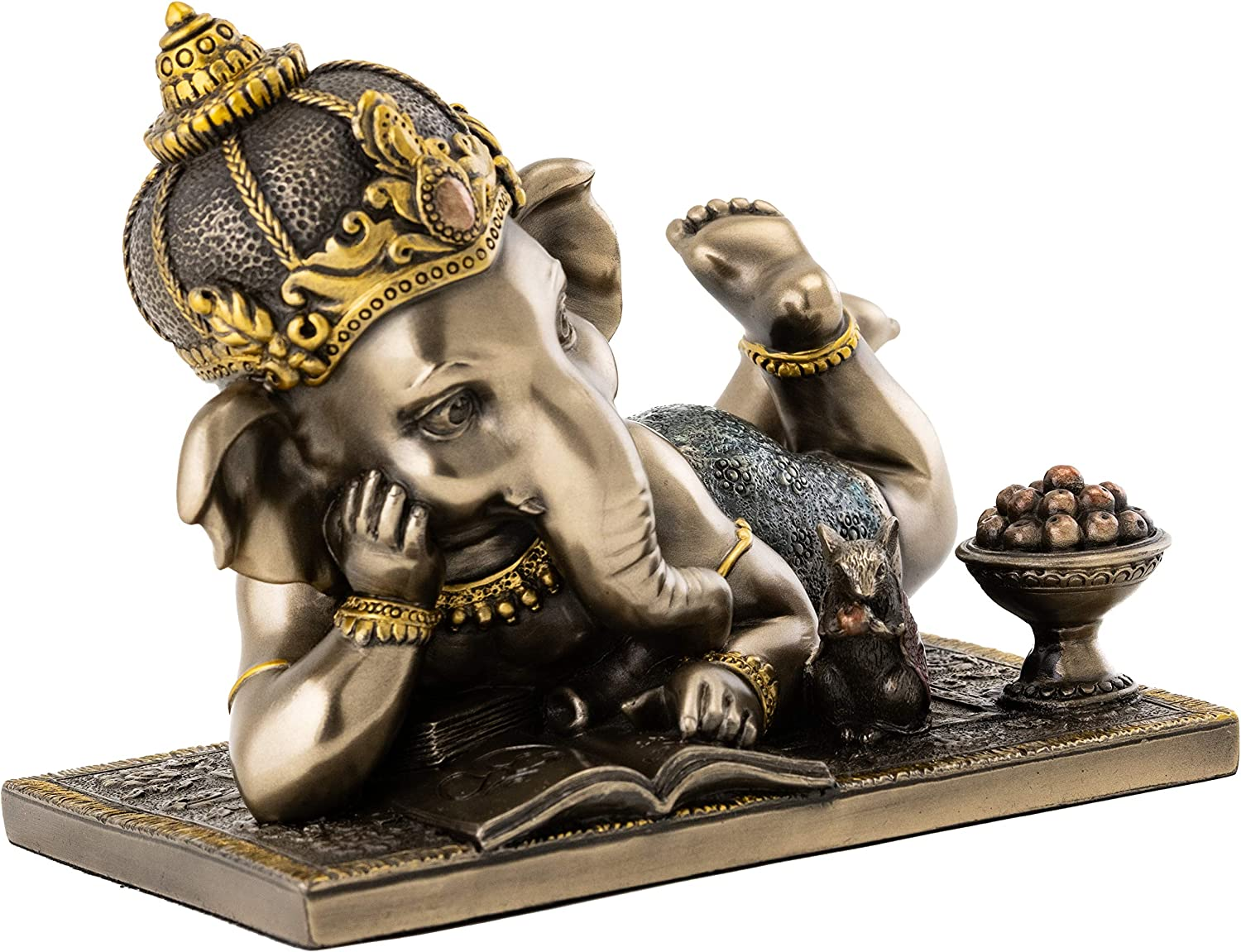 Top Collection Young Ganesh Statue Reading with Mouse - Hindu Elephant Lord of Success in Premium Cold Cast Bronze - 5-Inch Collectible Figurine