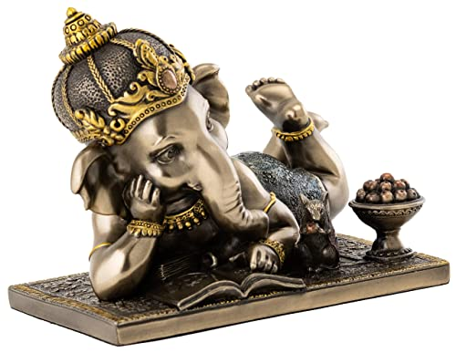 Top Collection Young Ganesh Statue Reading with Mouse – Hindu Elephant Lord of Success in Premium Cold Cast Bronze – 5-Inch Collectible Figurine
