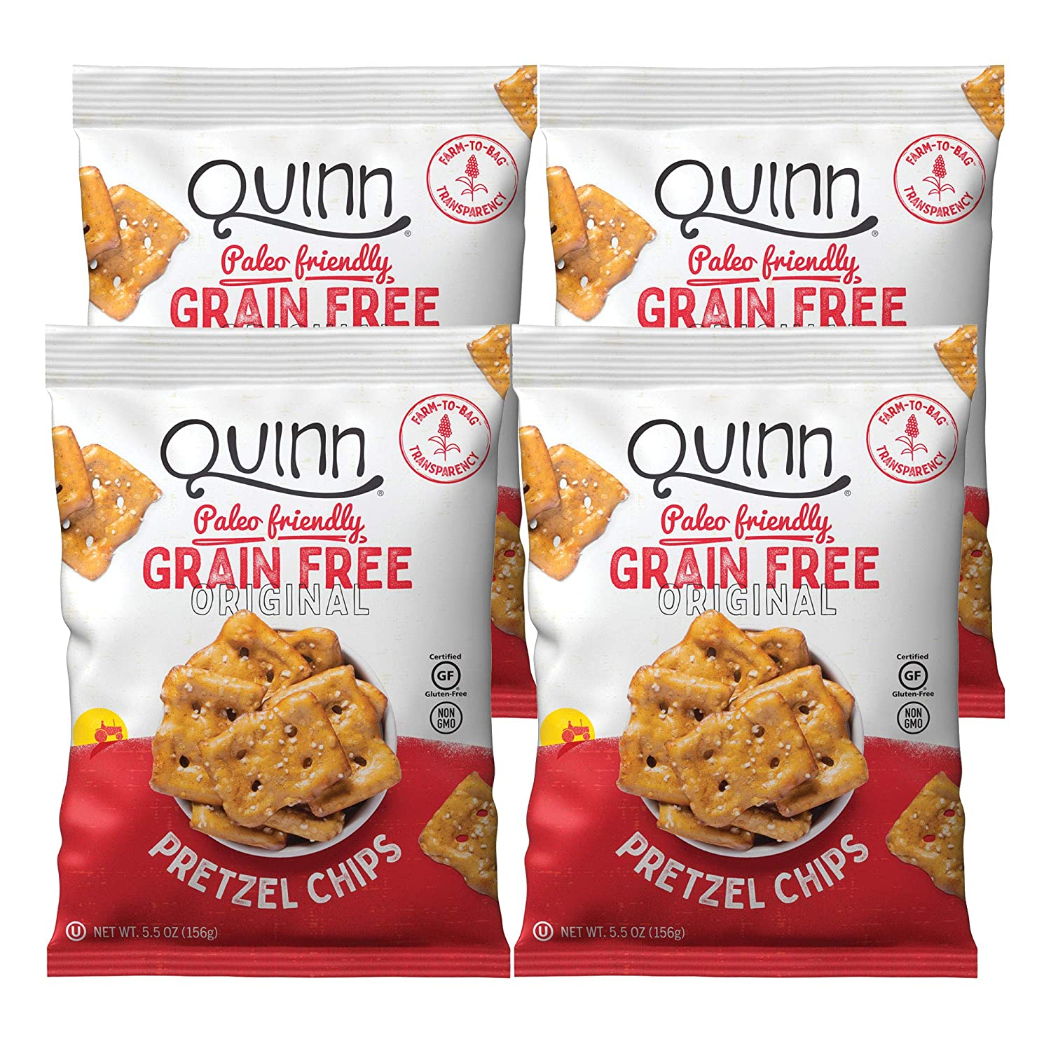 Quinn Original Grain Free Pretzel Chip, 5.5oz Bag (4 Count)