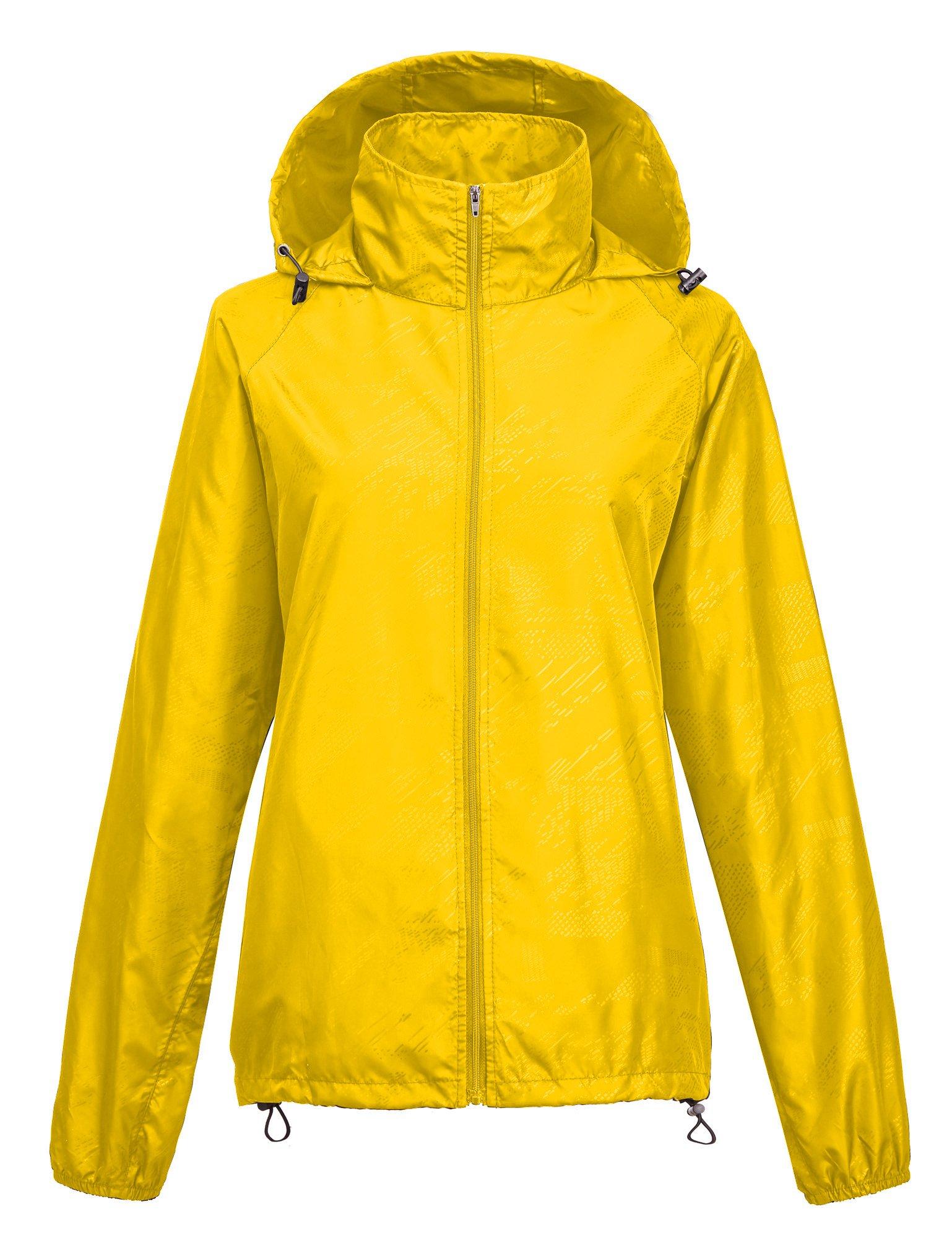 Leajoy Women's Packable Rain Jacket - Yellow M