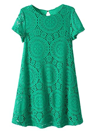 Sheinside® Damen Grünes lockeres Kurzarm Hohle-Kleid aus Spitze (L, grün) 1459e3c4f9
