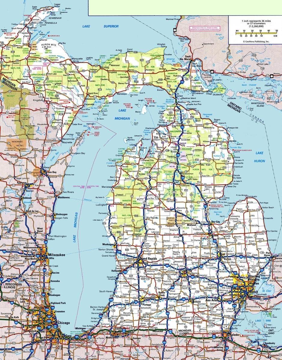 Gifts Delight Laminated 24x30 Poster: Michigan Road Map Michigan Map
