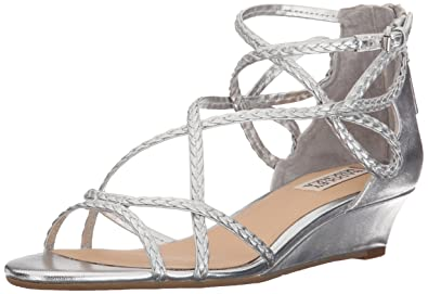 Badgley Mischka Women's Corrine Wedge Sandal, Silver, ...