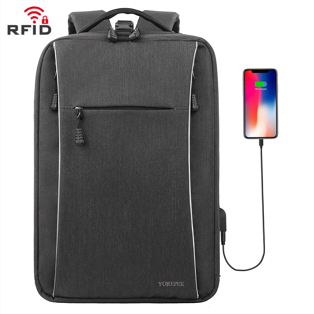 chic Slim Backpack, Business Laptop Backpacks with USB charging Port, Water  Resistant Compact Computer cb063d9422