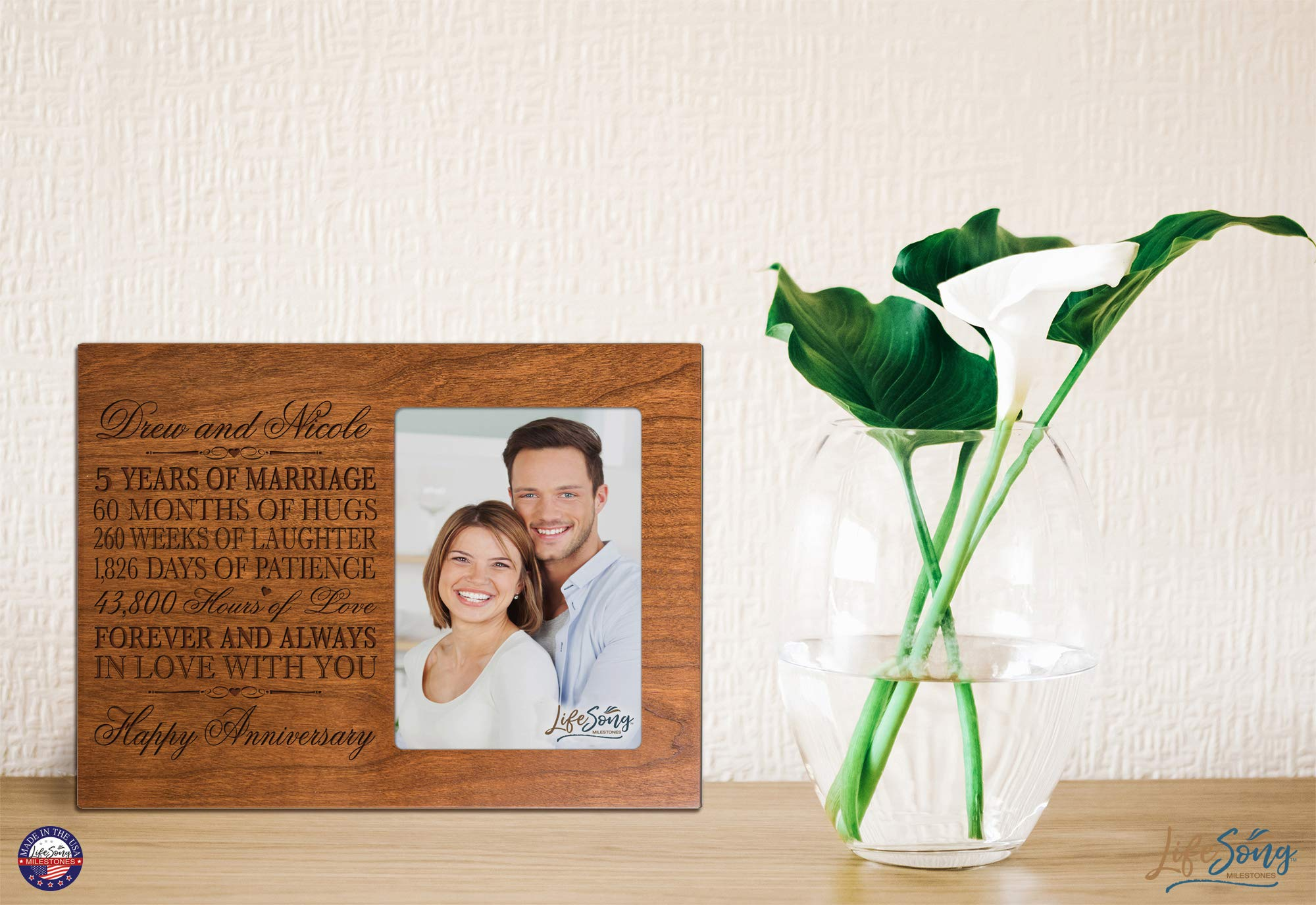LifeSong Milestones Personalized Five Year her him Couple Custom Engraved 5th Year Wedding Celebration for Husband Wife Girlfriend Boyfriend Frame Holds 4x6 Photo (Cherry) by LifeSong Milestones (Image #3)