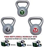 IQI Kettlebell Set 10kg-12kg-14kg Vinyl Kettlebell set- Set of 3 Kettelbells: FREE Kettlebell Work Out DVD