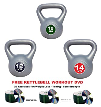 UK Fitness Kettlebells Vinyl Kettlebell Sets Kettle Bells Includes Workout DVD 10 12