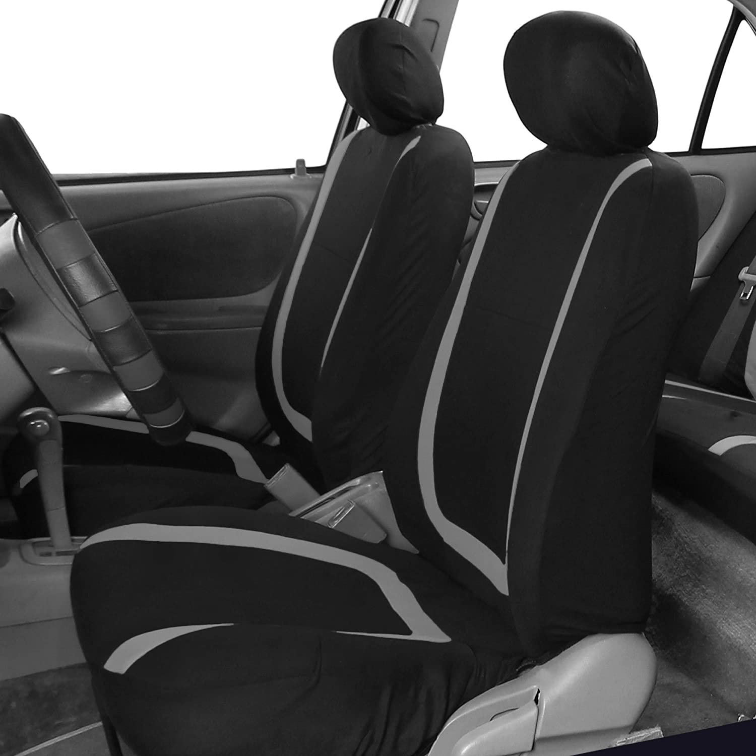 Blue//Black Color- Fit Most Car FH Group FH-FB032115 Unique Flat Cloth Seat Covers Suv Truck or Van