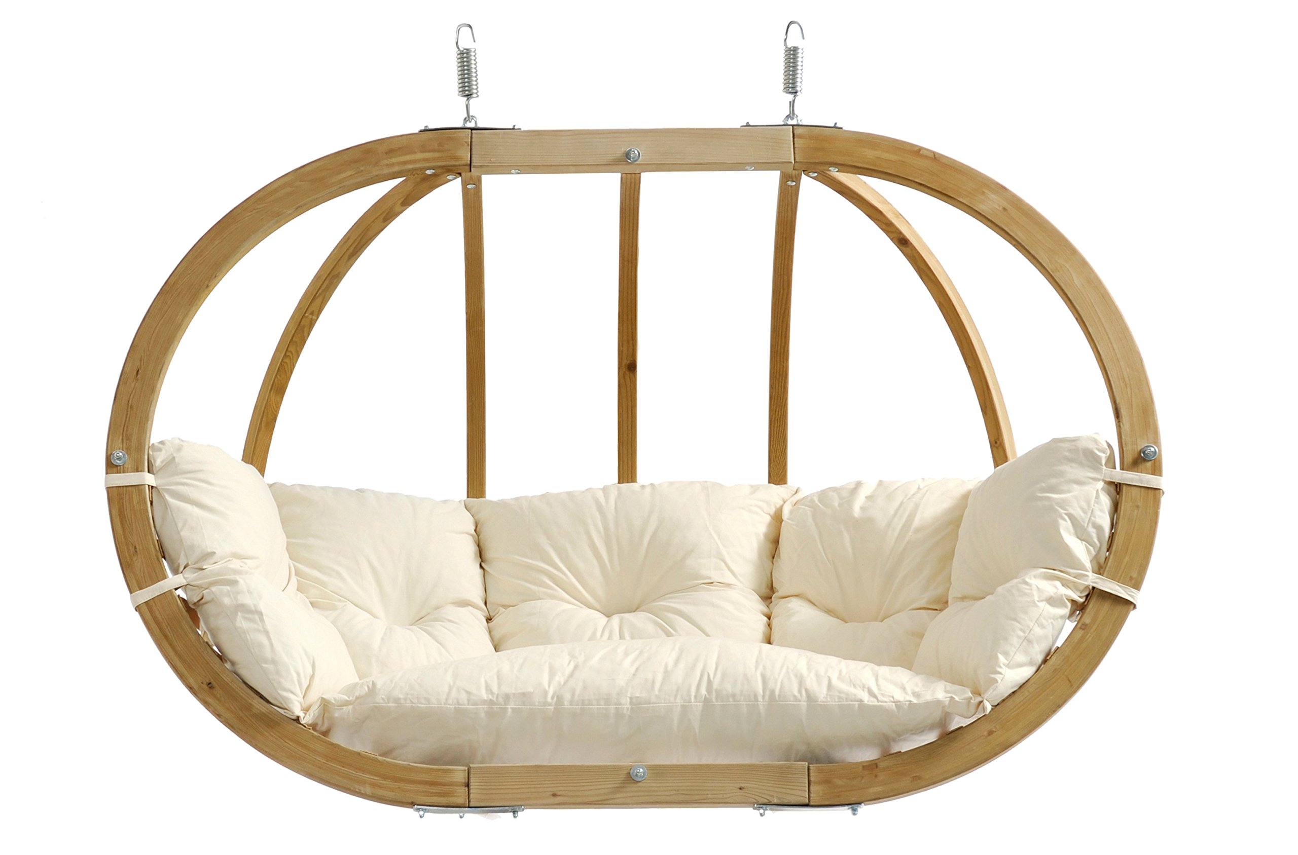 Globo Royal Double Chair, Treated Wood Construction, Indoors and Outdoors, Natural Spruce Wood, Agora Outdoor Fabric Cushion, Two Person, Natural Agora, 70''W x 48''h x 30''D, Holds Up To 440lbs