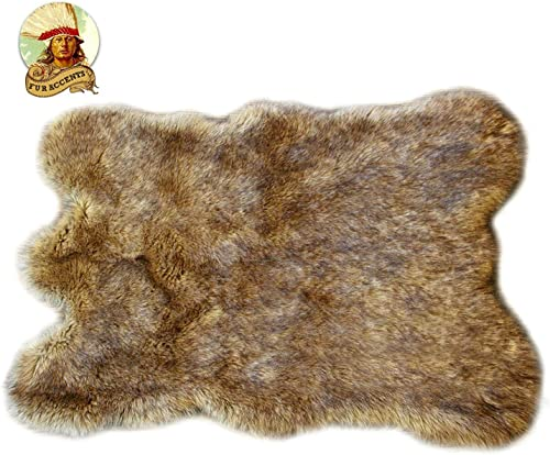 Wolf Skin Hide Coyote Plush Faux Fur Throw Rug Bear Skin Sheepskin Shag Light Golden Brown 3 x5