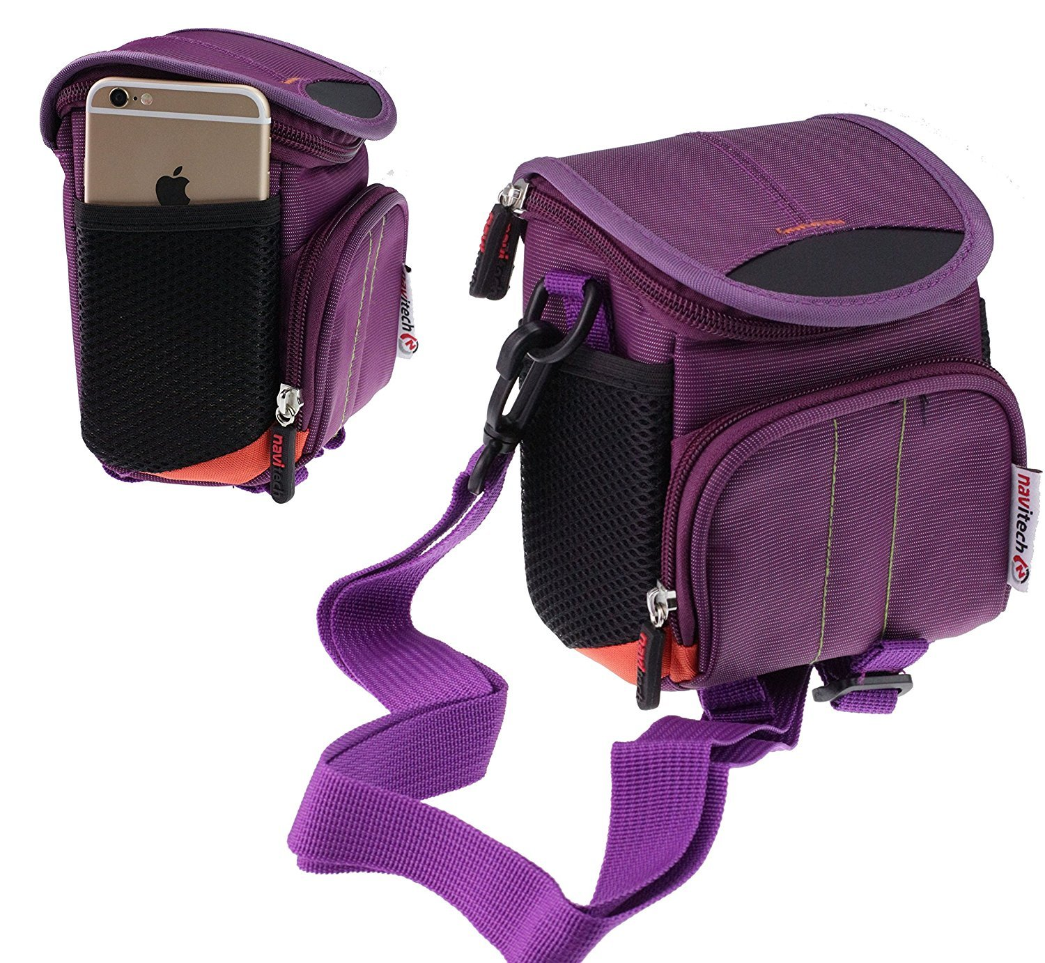 Navitech Purple Protective Portable Handheld Binocular Case and Travel Bag Compatible with The Leica Ultravid 10 x 25 BR (with Belt and Shoulder Strap) by Navitech