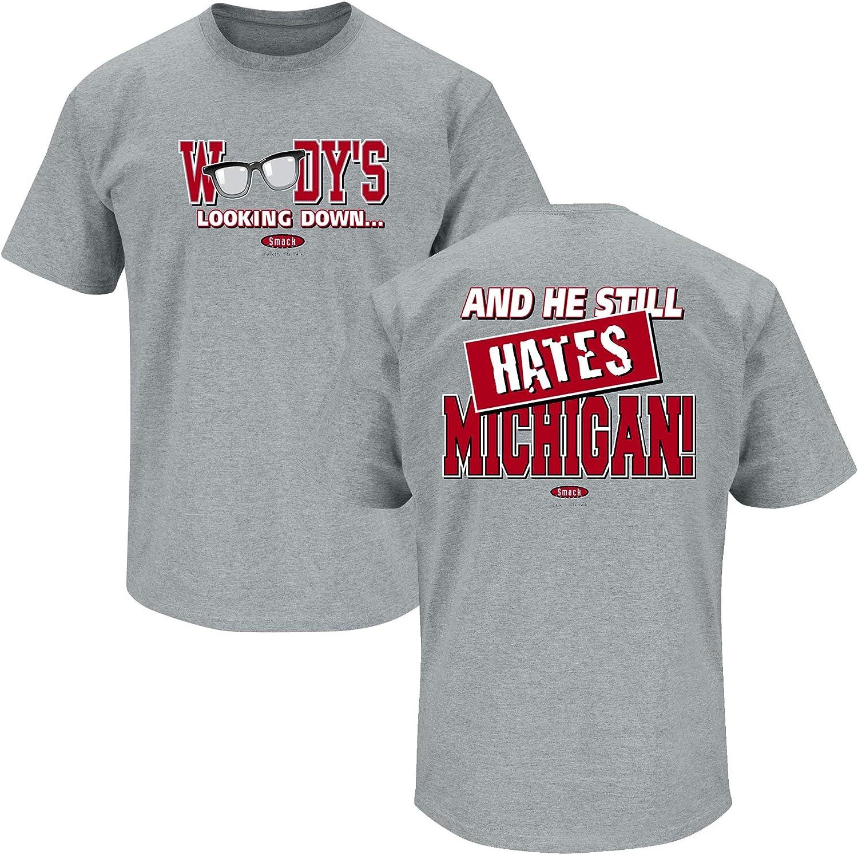 Anti-Michigan Woodys Looking Down Smack Apparel Ohio State Football Fans Sm-5X Grey T-Shirt